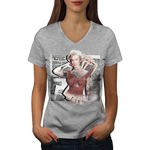 Monroe Deck (wellcoda Monroe As Diva Berühmtheit Frau V-Ausschnitt T-Shirt Zocken Grafikdesign-T-Stück)