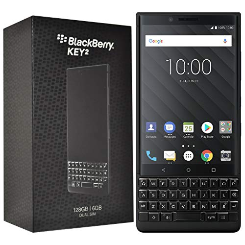 BlackBerry KEY2 128GB (Dual-SIM, BBF100-6, QWERTY Keypad) Factory Unlocked SIM-Free 4G Smartphone (Black Edition)