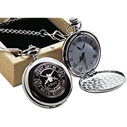 British Army Pocket Watch Remembrance Day Badge Crest Silver with Chain in Luxury Wooden Case