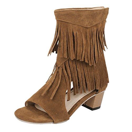 Braune Cut-out (UH Damen Blockabsatz Sommer Stiefeletten Cut Out Stiefeletten mit Fransen Fashion Schuhe)