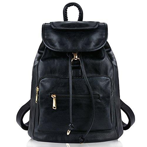 Damen Rucksack, COOFIT Damen Leder Rucksack Schultasche Rucksack Schwarz Leder Daypacks Für Outdoor Sports (Black)