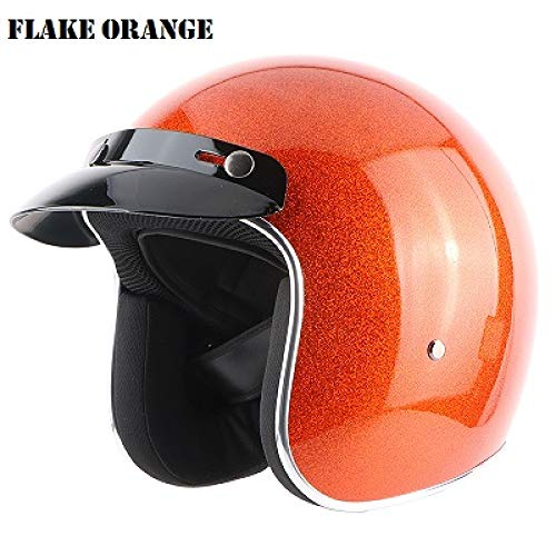 Berrd Frp Retro Open Face Casque De Moto Half Jet Retro Casque Orange M