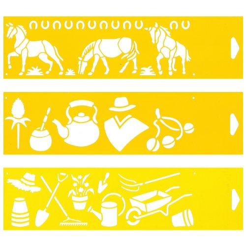 (Satz von 3) 30cm x 8cm Flexibel Kunststoff Universal Schablone - Textil Kuchen Wand Airbrush Möbel Dekor Dekorative Muster Torte Design Technisches Zeichnen Zeichenschablone Wandschablone Kuchenschablone - Pferde Gaucho Argentinien Sommer Garten Bauernhof