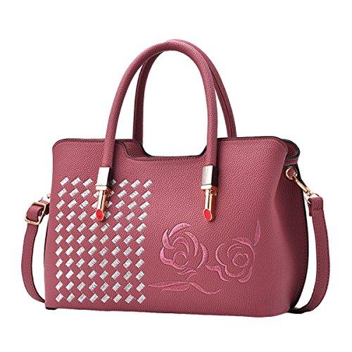 Sacchetto Di Spalla Del Sacchetto Del Messaggero Del Sacchetto Delle Donne Dell'atmosfera Di Modo Del Ricamo Di Retro Pink