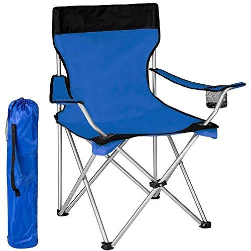 Bakaji sedia pieghevole da campeggio con borsa camping sedia mare spiaggia pesca da esterno in acciaio e poliestere con vano porta bibite e smartphone (blu)