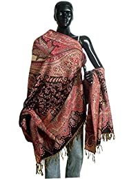 DollsofIndia Woven Paisley Design on Woolen Shawl - 41 x 82 inches (NO90)