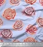 Soimoi Blau Baumwolle Batist Stoff Rose Blumen- Stoff