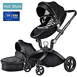 Hot Mom des limitée Version Poussette 2018, 3 en 1 bébé Poussette Système de voyage avec berceau, Noir