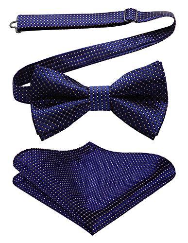 Enlision Herren Krawatte Hochzeit Party Check Polka Dot Bowtie Taschentuch & Einstecktuch Set Polka Dot Bowties