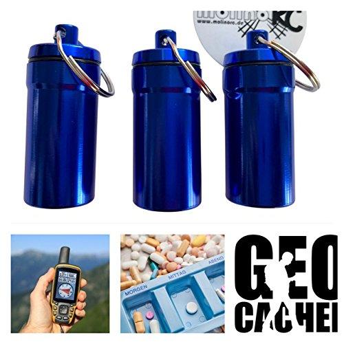 molinoRC 3X Geocaching Versteck | Nano Pillendose | Pillencontainer Alu | Container Micro | Cache Blau 4,5 x 2 cm Nano-cache