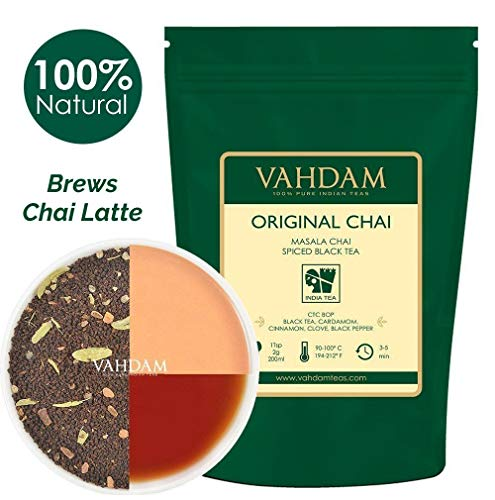 India's Original Masala Chai Tea Loose Leaf (100 Cups) 200g | 100% Natural Ingredients | Black Tea, Cinnamon, Cardamom, Cloves, Pepper - Loose Leaf Tea, Spiced Chai Tea Leaves - Brew Chai Tea Latte