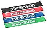 Bodymondo® Fitnessbänder 4er Set + Tasche + Anleitung, Loop Gymnastikbänder, Bunt, Pilates & Reha Widerstandsbänder