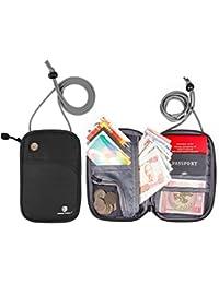 bagsmart pasaporte fundas RFID bloqueo cuello bolsa titular de la tarjeta