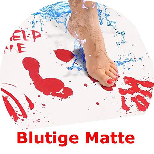 (BZLine Blutige Badematte - Farbwechsel Blatt Wird rot, wenn nass - Machen Sie Ihre eigenen Bleeding Fußabdrücke, die Verschwinden weiß - Blatt, für Dusche/Bad - 16,5 x 27,5 Zoll (42 x 70 cm))