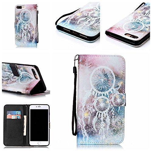 """iPhone 7 Plus Coque Noir Cuir Portefeuille Etui Rabat Style Coloré Peinture Image ( Warning Don't Touch My Phone ) Case pour Apple iPhone 7 Plus 5.5"""" Noir-7"""