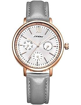 XLORDX Classic Damen-Armbanduhr Analog Quarz Grau Leder Armband, Rosegold Weiß Zifferblatt