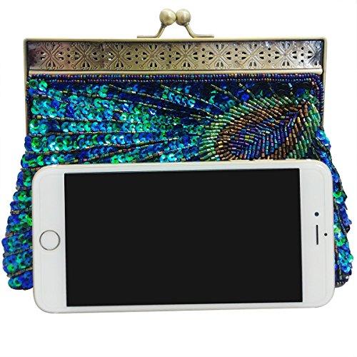 Happy FD Damen handgefertigt Fashion Pailletten Perlen Abend Handtasche Abendtasche Clutch PEACOCK Geldbörse 2