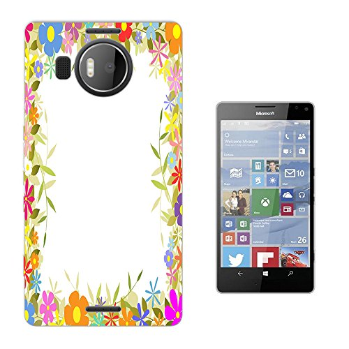 002707 - Colourful Floral Roses flowers Boarder Tulip Daisy Design Microsoft Nokia Lumia 950 XL Fashion Trend Silikon Hülle Schutzhülle Schutzcase Gel Rubber Silicone Hülle