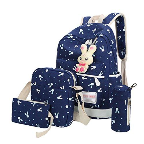 (Xinwcang 4 Set Casual Rucksäcke Cartoon Kaninchen Print Schulrucksack Backpack Laptop Schule Tasche + Schultertasche/Messenger Bag + Handtasche + Mäppchen für Jungen Mädchen/Damen Dunkelblau)