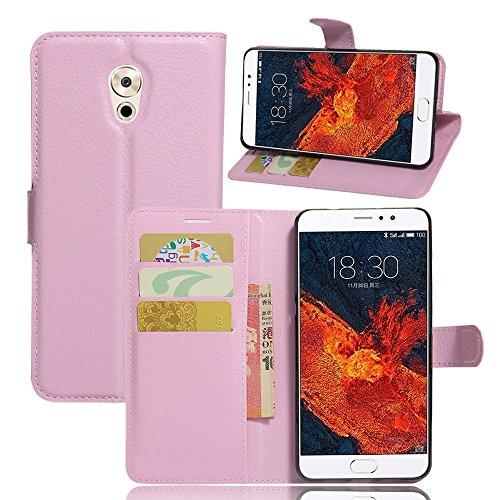 Kihying Hülle für Meizu Pro 6 Plus Hülle Schutzhülle PU Leder Flip Wallet Fashion Geschäft HandyHülle (Pink - JFC08)