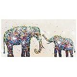 Ölgemälde Elefanten + Perlen, 100% handgemaltes Wandbild 3D-Bild Gemälde XL, 120x60cm
