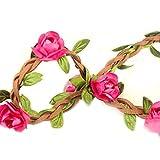 Hippie-Liebe Blumenkranz Blumenkrone Festival Hochzeit Haarkranz BOHO Blumenstirnband (Rose Rot)