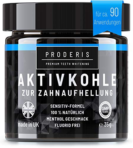 Proderis® Aktivkohle Pulver 100% Natürliche Zahnaufhellung | Bleaching Teeth Whitening | Weiße Zähne | Vegan Zahnpasta | Activated Charcoal Powder Sensitiv Formel