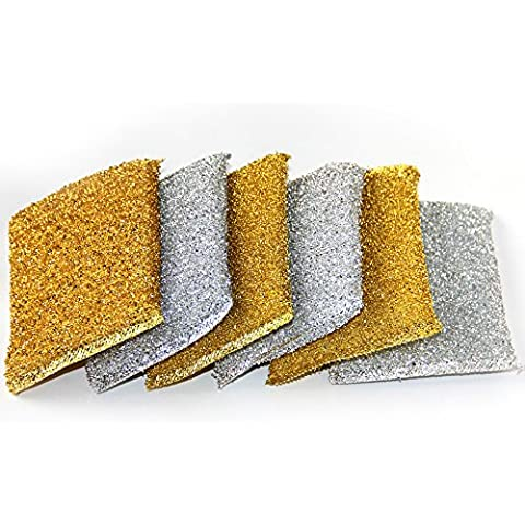 6 METALLICA SCOURING PADS Pagliette Set Pulizia Casa Cucina Heavy Duty Scrubber Lavaggio Fai Da Te Scrubbing Dish Cleaner Spugna Acciaio Rame