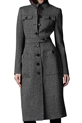 TOOGOO(R)Frauen Stehkragen Parka schlank Sitz Lange Trenchcoat bodenlang Wollmischung Jacke Mantel Grau M