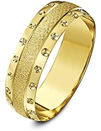 Unisex Heavy Weight, Crystallised Centre and Circle Design Edge D-Shape 9 ct Yellow Gold Wedding Ring