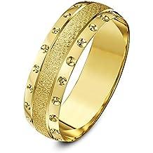 Theia Anillo de Bodas de Oro Amarillo o Oro Blanco, 9k, Peso Pesado,