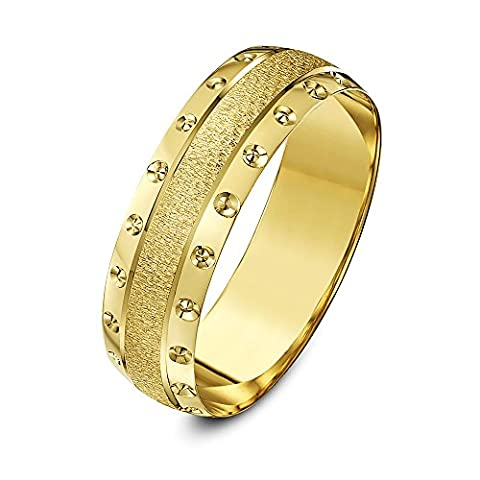 Theia 9ct Yellow Gold Heavy Weight - Crystallised Centre and Circle Design Edge D-Shape 6mm Wedding Ring - Size