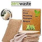 Esponjas de luffa, Esponjas orgánicas naturales para lavar platos Paquete de 6,exfoliante de lufa orgánica Fabricado de lufa egipcia superior/100% orgánico, biodegradable y ecológico.