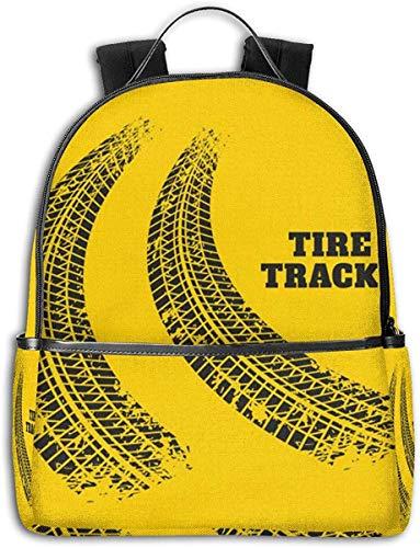 Road Tire Track - Zaino unisex resistente per laptop, per viaggi, scuola, lavoro