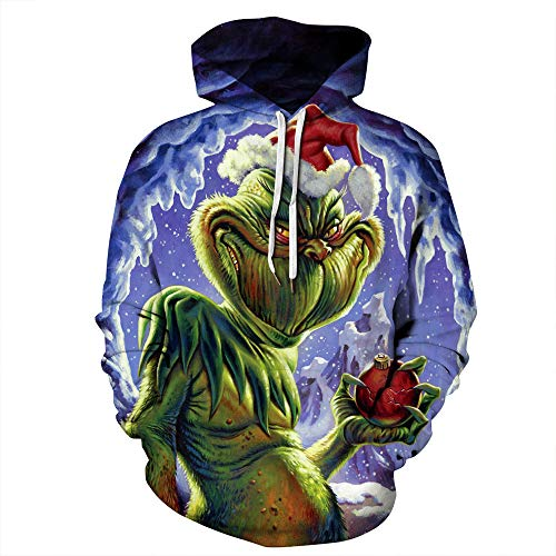 Unisex 3D Weihnachten Pullover Sweatshirt lustige Xmas Animal Elf gedruckt Langarm T-Shirt