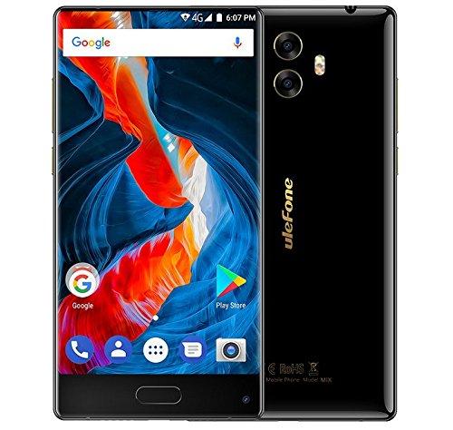 Ulefone Mix - 5,5 Zoll Bezel-Frei Corning Gorilla Glass 3 Bildschirm Android 7.0 4G Smartphone, Octa Core 1.5GHz 4GB RAM 64GB ROM, Dreifachkameras (13MP + 5MP + 13MP), Metallrahmen - Schwarz