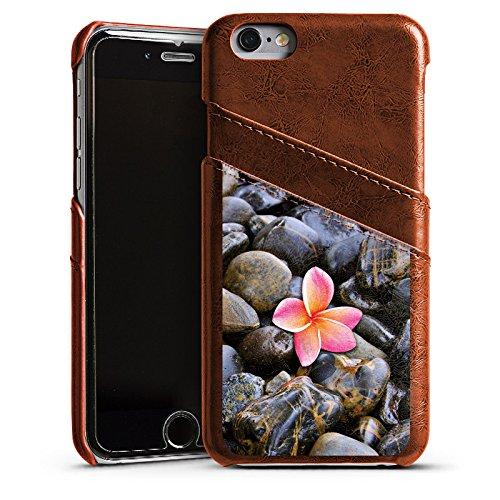 Apple iPhone 4 Housse Étui Silicone Coque Protection Fleur Rose vif Caillou Étui en cuir marron