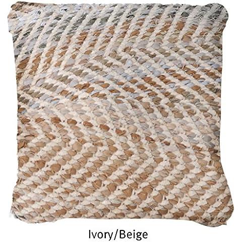 La República alfombra hecha a mano marfil/Beige Reciclado Tela Vaquera y tela Chenille Arena de almohada (45cm x 45cm), 1pieza