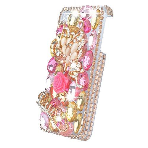 Evtech (tm) Goldene Kristalldiamant-rosa Schmetterling Floral Strass Bling Hard Case Telefon-Abdeckung für iPhone 5s Pink
