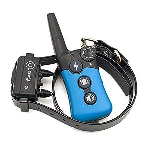 Dulcii Etanche rechargeable anti-aboiement Collier de dressage de chien à distance, 100niveaux de vibrations et BIP intensité réglable avec Belt-blue