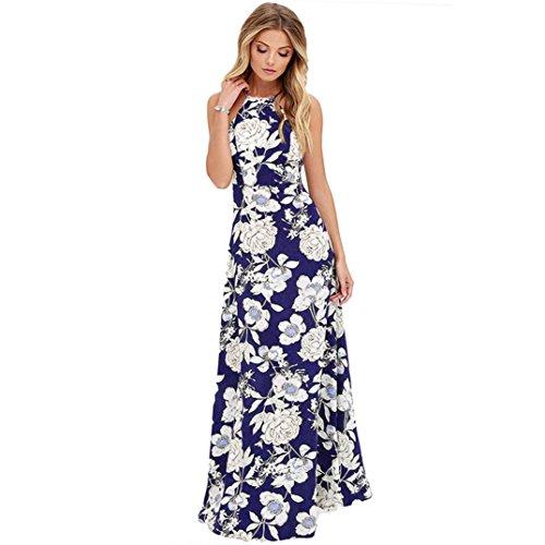 Damen Kleid,Binggong Frauen Sommer Boho Lange Maxi Abend Party Hang Neck Blumenkleid Kleid Strand Kleider Sommerkleid Rückenfrei Cocktailkleid (Sexy Dunkelblau, XL) (Kleid Strand Länge)