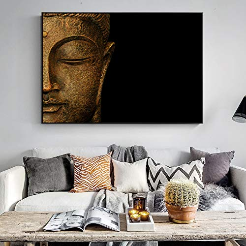 Klassische Buddha Leinwand Gemälde Buddhismus Wandkunst Leinwand Buddha Gesicht Wandbilder Für Wohnzimmer Cuadros Dekoration 50x70 CM (Kein rahmen)