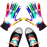 LED Gloves Shoelaces Set, LED Gloves, Light Up Gloves for Kids, Flashing Light Up Gloves Combination Christmas Party Dance Music Festival Glow Accessories Props Toys for Adult Kids