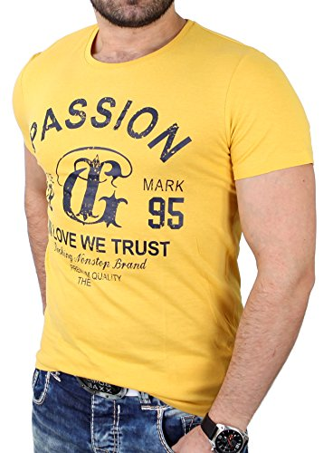 Reslad T-Shirt Herren Basic Passion Print Shirt RS-7373 Gelb