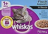 Whiskas Katzen-/Nassfutter Multipack Adult 1+ für Erwachsene Katzen Fischauswahl in Sauce, 48 Portionsbeutel (4 x 12 x 100 g)