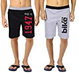#8: hotfits mens self design cotton shorts (shbk1947-shgrbike)