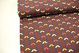 Stoff / 50cmx140cm / Kinder / beste Jersey-Qualität / Jersey / Sommer-Sweat retro Muster grafisch braun, gelb, rot auf schwarz