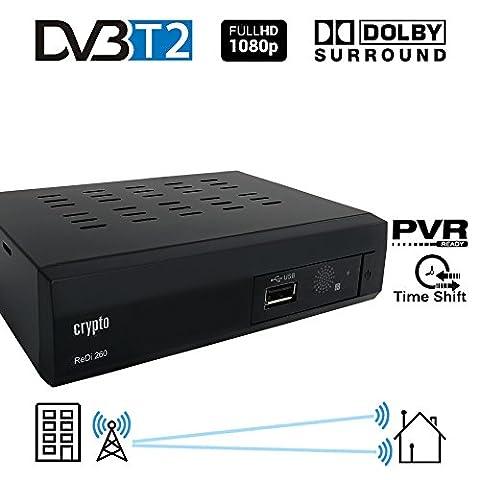 Crypto Redi 260 1080P Full HD 1080P DVB-T2 décodeur tnt hd avec Dolby Full Multimédia Lecteur H.264 / MPEG-2/4