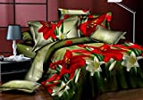Star 3D-Floral Green Print Double Bedshe...