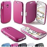 Alaskaprint Luxus Flip Hülle Pink für Samsung Galaxy S3 MINI i8190 i8192 i8195 Gruppe 6, Tasche aus Kunstleder mit Magnetverschluss. Schutzhülle, Etui Case, Cover